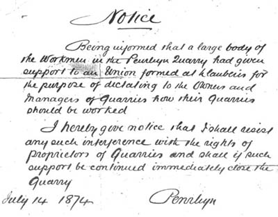 A draft notice by Lord Penrhyn warning quarrymen not to support the Quarrymen's Union, University of Wales, Bangor