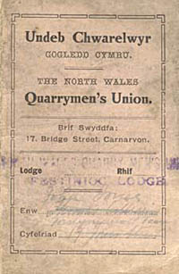 North Wales Quarrymen's Union membership card, 1921