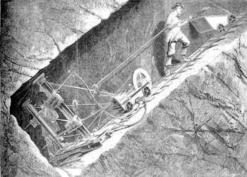 Diamond rock-boring machine at the Croesor Slate Quarry, source: Engineering June 10, 1870