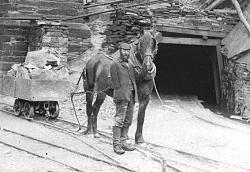 A one-armed quarryman with his horse at a slate quarry. (c) National Library of Wales.