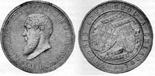 Commemorative medal produced for Love Jones-Parry's Election Victory, 1868