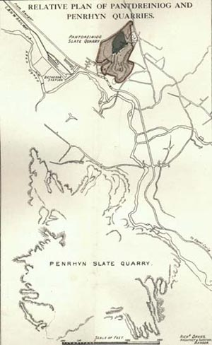 Relative Plan of Pantdreiniog and Penrhyn Quarries.
