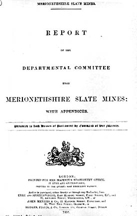 T0000273a - Cover Page - Report of the Departmental Committee Report of the Departmental Committee upon Merioneth Slate Mines