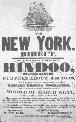 Advertisement for the vessel Hindoo, sailing between Caernarfon and New York, 1 Feb 1843