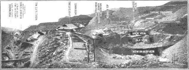 Photograph Ffestiniog Slate Quarry showing slate veins.