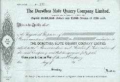 An unissued share certificate of the Dorothea Slate Quarry Co., 1950s