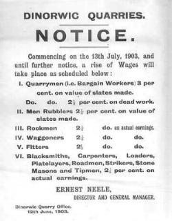 Announcement of an increase of 3% for bargainworkers and 2.5% for the remainder at Dinorwig quarry, Llanberis, 1903.
