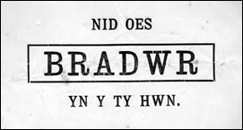 Nid oes BRADWR yn y ty hwn [There is no TRAITOR in this house (trans)]